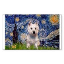 Starry Night & West Hightland Sticker (Rectangular