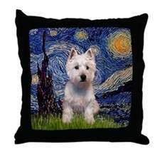 Starry Night & West Hightland Throw Pillow