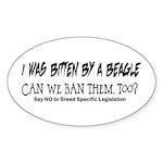 I was bitten by a Beagle Oval Sticker