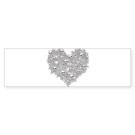 Skull Heart Bumper Sticker