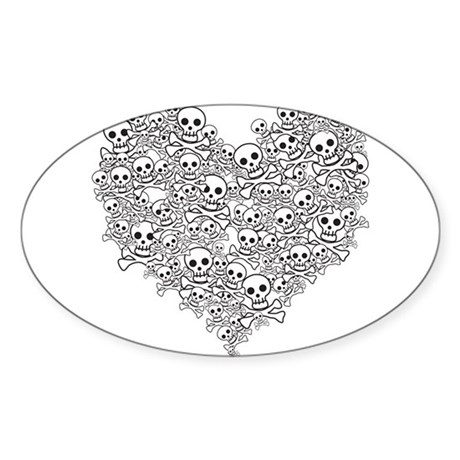Skull Heart Oval Sticker