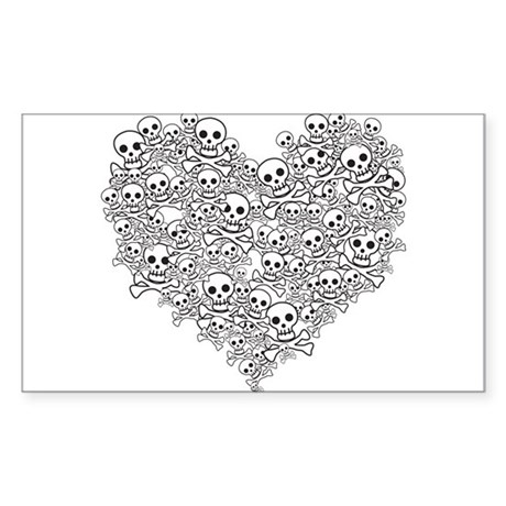 Skull Heart Rectangle Sticker