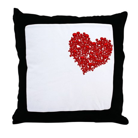 Heart of Skulls Throw Pillow