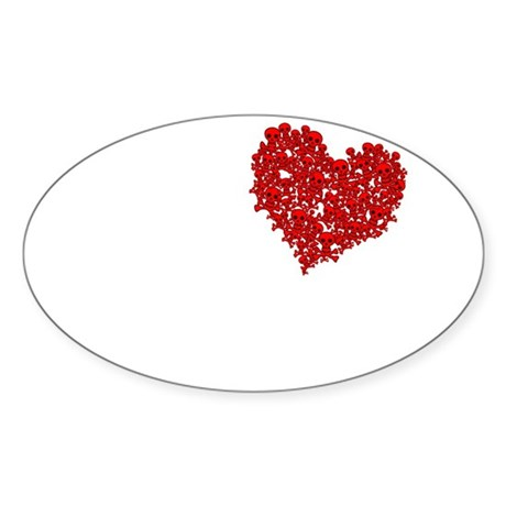Heart of Skulls Oval Sticker