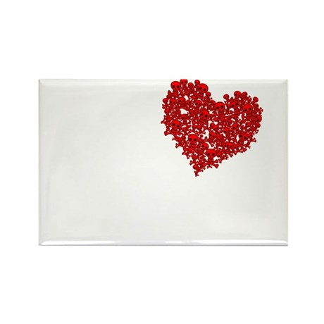 Heart of Skulls Rectangle Magnet (10 pack)