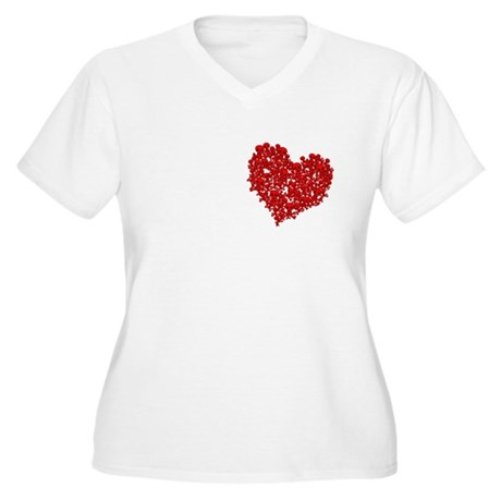 Heart of Skulls Women's Plus Size V-Neck T-Shirt