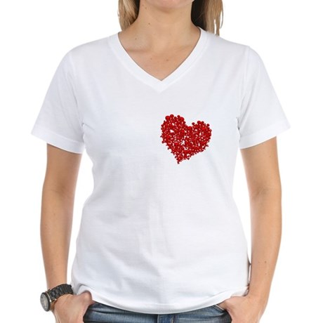 Heart of Skulls Women's V-Neck T-Shirt