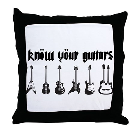 Know Your Guitars Throw Pillow
