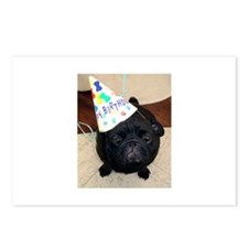 Black Pug Birthday Postcards (Package of 8)