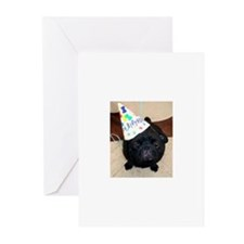 Big Head Birthday Pug Greeting Cards (Pk of 10)