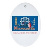Milwaukee WI Flag Oval Ornament