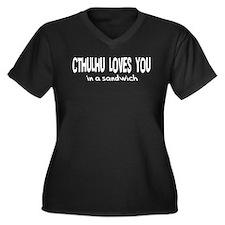 Cthulhu Loves You Women's Plus Size V-Neck Dark T-