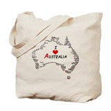 I Love Australia Map with Heart Tote Bag