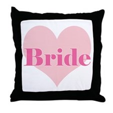 Bride pink heart Throw Pillow