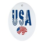 USA stars & stripes flag Oval Ornament