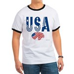 USA stars & stripes flag Ringer T