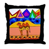 Cool Colorful Camel Throw Pillow