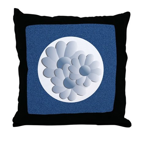 Pretty Daisy Trio - Blue Throw Pillow