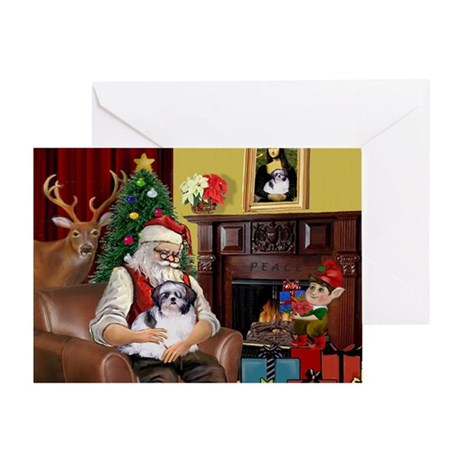 Santa's Shih Tzu (#1) Greeting Card