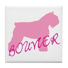Pink Bouvier With Text Tile Coaster