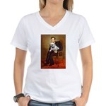 Lincoln's English Bulldog Women's V-Neck T-Shirt