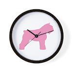 Pink Bouvier Des Flandres Wall Clock