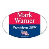 """Mark Warner President"" Oval Decal"