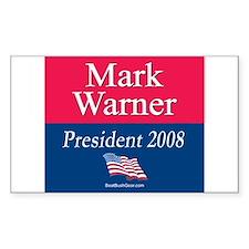 """Mark Warner President"" Rectangle Decal"