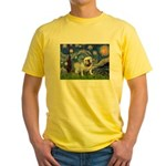 Starry Night English Bulldog Yellow T-Shirt