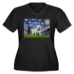 Starry Night English Bulldog Women's Plus Size V-N