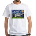 Starry Night English Bulldog White T-Shirt