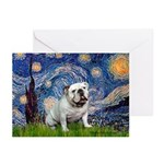 Starry Night English Bulldog Greeting Cards (Pk of