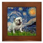Starry Night English Bulldog Framed Tile