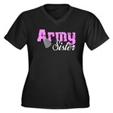 Army Sister Women's Plus Size V-Neck Dark T-Shirt