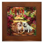 The Path / Two English Bulldogs Framed Tile