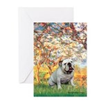 Spring/ English Bulldog (#9) Greeting Cards (Pk of