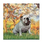 Spring/ English Bulldog (#9) Tile Coaster