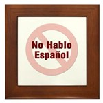 No Hablo Espanol - Red Circle Framed Tile