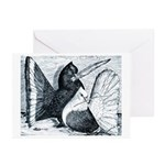Indian Fantail Pigeons Greeting Cards (Pk of 10)