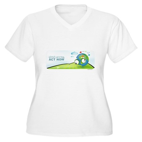 Recycle Wide Women's Plus Size V-Neck T-Shirt