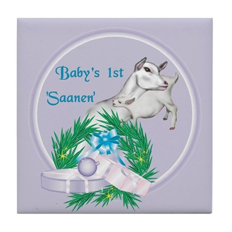 Saanen Goat Baby's First Tile Coaster