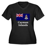 Cayman Islands Women's Plus Size V-Neck Dark T-Shi
