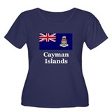 Cayman Islands Women's Plus Size Scoop Neck Dark T
