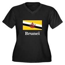 Brunei Women's Plus Size V-Neck Dark T-Shirt