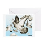 Flying Homer Pigeons Greeting Card
