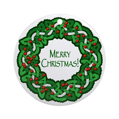 Celtic Christmas Wreath Ornament (Round)