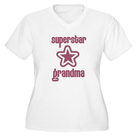 Superstar Grandma Women's Plus Size V-Neck T-Shirt