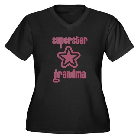 Superstar Grandma Women's Plus Size V-Neck Dark T-