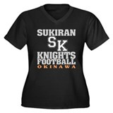 Sukiran Knights Women's Plus Size V-Neck Dark T-Sh