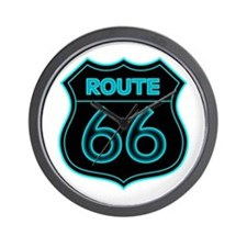 Route 66 Neon - Teal Wall Clock